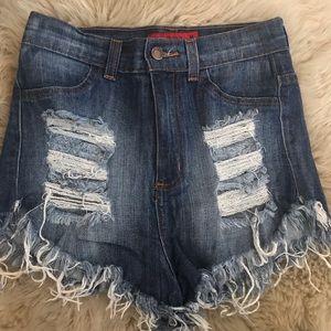 GJG Distressed Denim Shorts